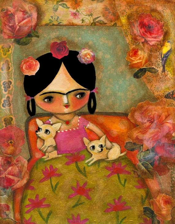 ORIGINAL mixed media painting FRIDA Kahlo with two CHIHUAHUAS cute collage acrylic painting by tascha 10x8
