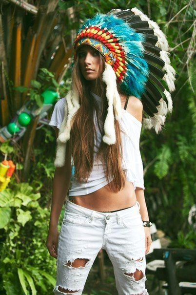 Hippie Style ♥ (hippie style? This is just disgusting. Someone attributed a sacred cultural item to HIPPIES? How did so many people become so utterly disrespectful and so clueless?)