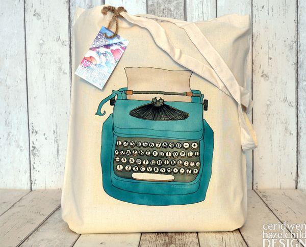 Eco-bag de algodão   estampa de máquina de escrever   Ceridwen Hazelchild Design - Eco Cotton Tote Bag