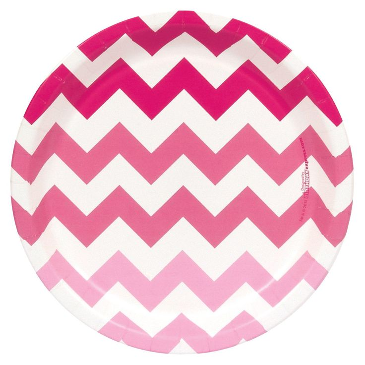 Chevron Pink Dinner Plates, 92013
