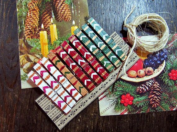 -- Made 2 Order --  Aztec pattern handpainted wooden clothespins photo/cards display kit. OOAK.   Available kits: Six clothespins + jute rope + gift pack Dozen clothespins ... #etsy #boho #bohemian #gypsy #hipster