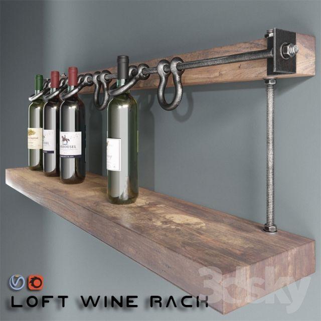 Loft wine rack 3d model. shelf, wine, bottle, bar,…