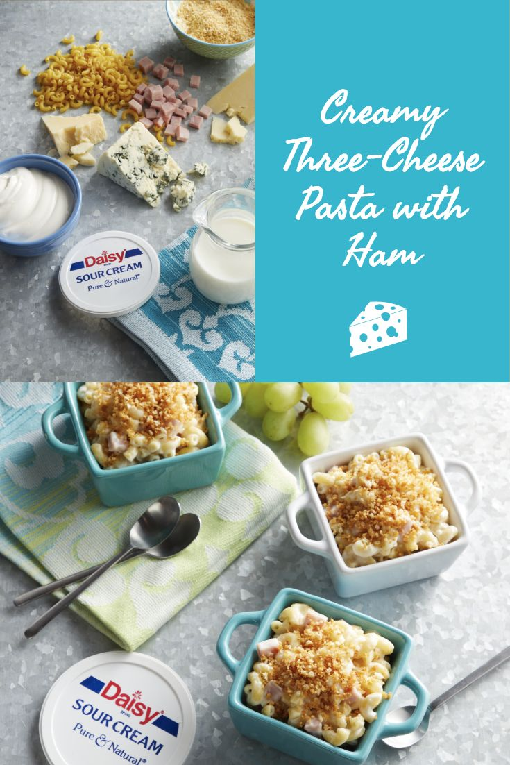 This Creamy Three Cheese Pasta With Ham Is One Of Our Favorite Go To Weeknight Recipes Ham Pasta Three Cheese Recipes