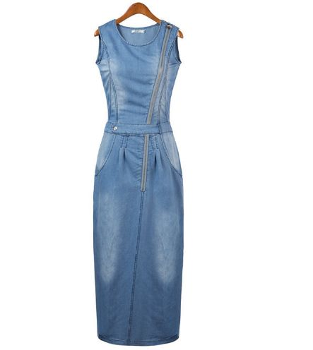 2016 New arrival women summer style fashion denim dress lady sleeveless jeans casual vintage sexy party dresses vestidos