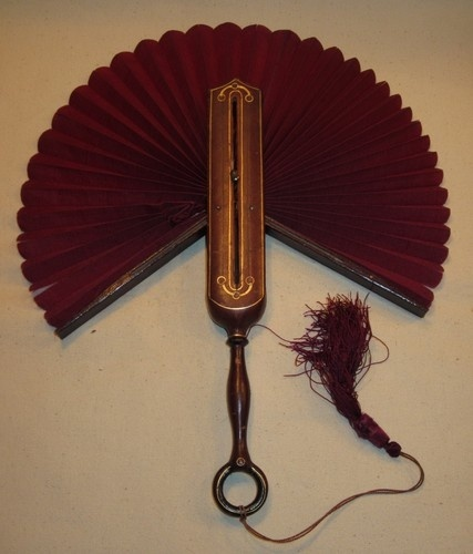 Victorian Leather Hand Fan RARE