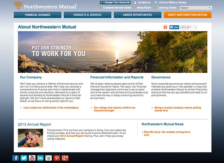 One of the top insurance companies. Northwestern Mutual is more conservative and follows in the trend of inspirational life shots. This seems to be the way the industry targets potential clients by selling them freedom in a lifestyle they would prefer. No real use of vector here just text and photos