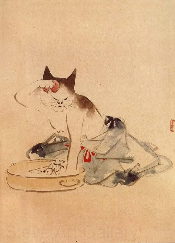 Artist: Unknown Title: Japanese Cat Bathing Product type: Gallery-wrapped canvas art Style: Contemporary Dimensions: 36 high inches x 24 inches wide Format: Portrait Size: Extra large Subject: Abstrac