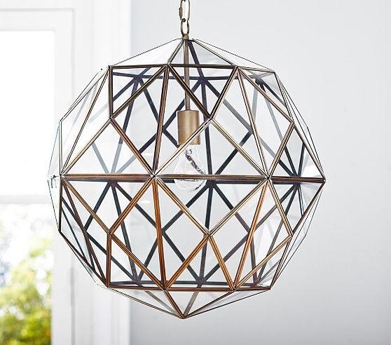 Glass & Metal Cage Pendant