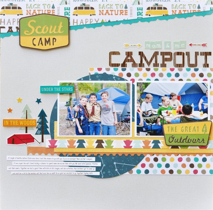 #papercraft #scrapbook #layout Mom and Me Campout - Scrapbook.com Echo Park Happy Camper