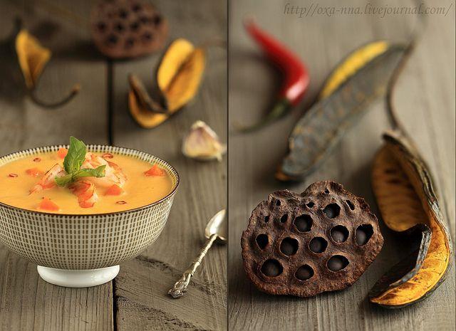 Тайский кокосовый суп с тыквой и креветками. by Oxa-nna, via Flickr