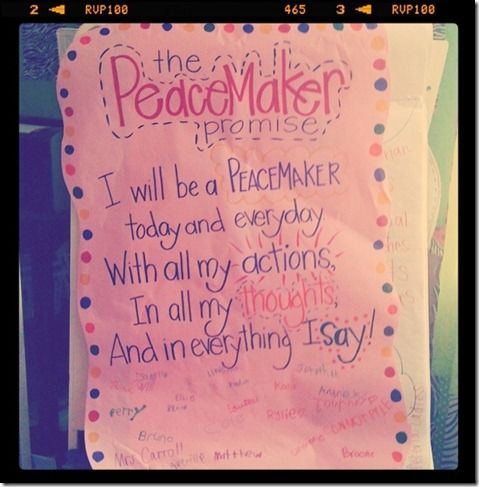 """Great ideas for teaching """"peacemaking"""" v """"peacebreaking"""" to kids...LOVE the """"Peacemaker Promise"""" that all of the kids signed!! :)"""