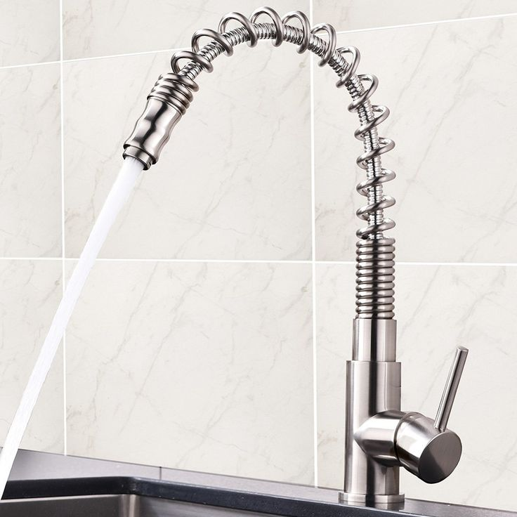 Friho Modern Commercial Brushed Nickel Stainless Steel Single Handle Single Lever Pull Out Pull Down Sprayer Spring Kitchen Sink Faucet, Brushed Nickel Kitchen Faucets
