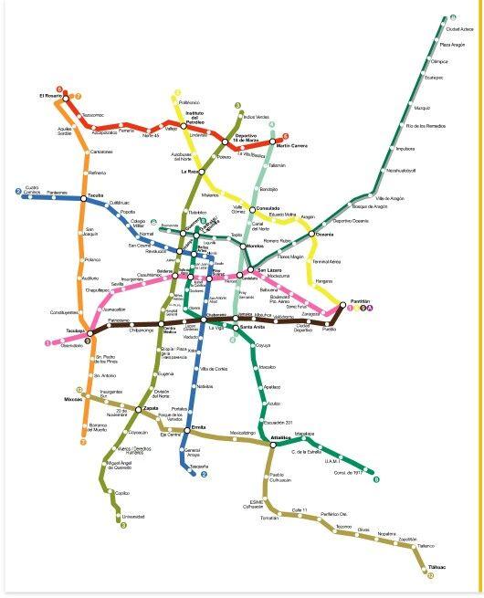 Lineas del metro de CDMX 2016