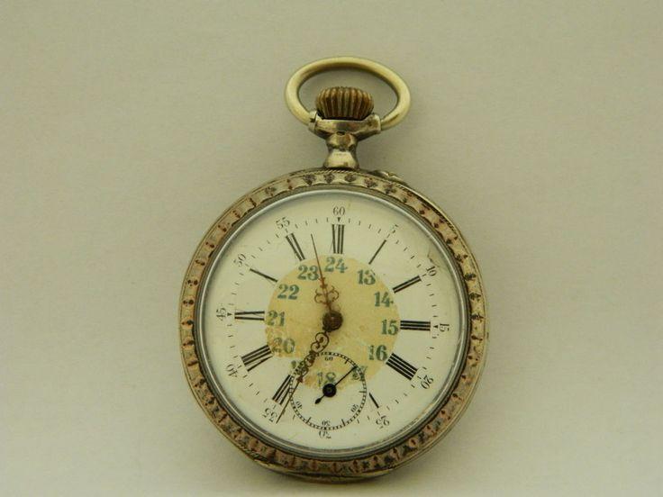 Visitate il mio negozio: http://www.ebay.it/sch/jumanantic/m.html  orologio da tasca in argento funzionante silver pocket watch working