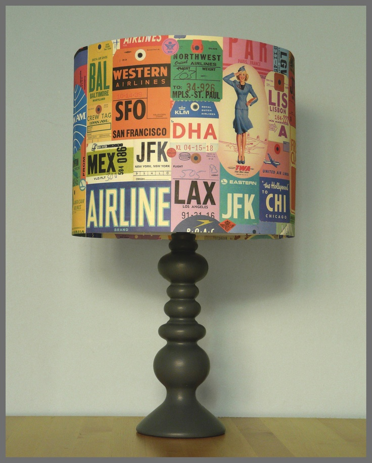 Trolley Dolly Lampshade. £35.00, via Etsy. Produced using a beautiful paper emulating luggage tags, this retro shade evokes images of the golden age of travel.