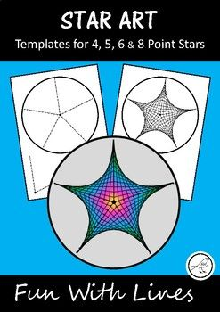 Fun With Lines.  Templates to create 4, 5, 6 and 8 point stars.  Draw straight lines connecting the dots on the templates and curves will magically appear  such fun!  (Parabolic Curves).Included:   4x student templates  4, 5, 6 and 8 point stars  Example stars   Easy-to-follow instructions (with images)The Process:   Draw the lines.