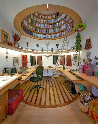 Ceiling book storage.