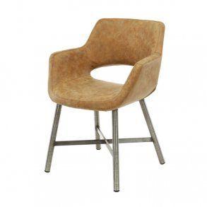 Tupps - spisebordsstol i stål og brunt læder