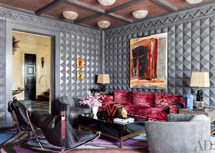 16 Brilliant Living Room Ideas By Kelly Wearstler You Will Love | Modern Sofas. Living Room Inspiration. Patterned Sofa. #modernsofas #livingroomideas #patternedsofa Read more: http://modernsofas.eu/brilliant-living-room-ideas-kelly-wearstler-love/
