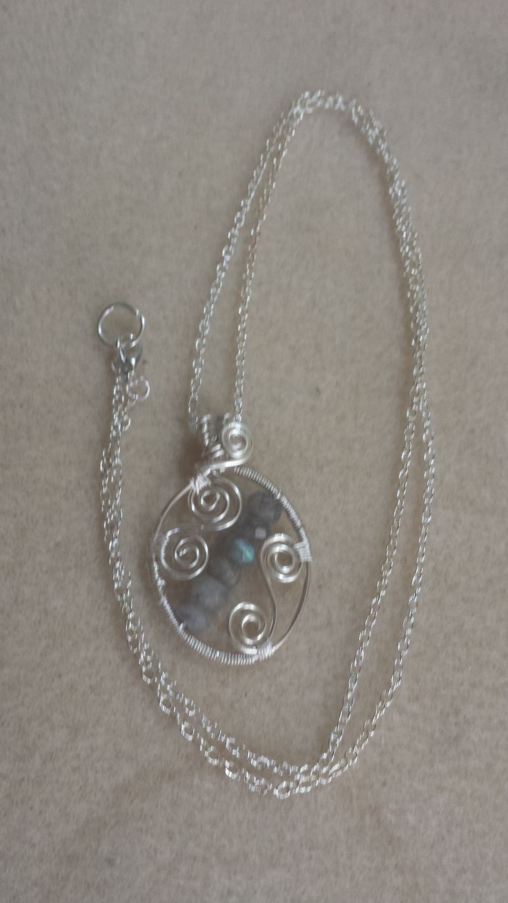 Hand crafted Silver plated Pendant with spirals and Labadorite Rondelles, Silver plated chain with Lobster claw clasp
