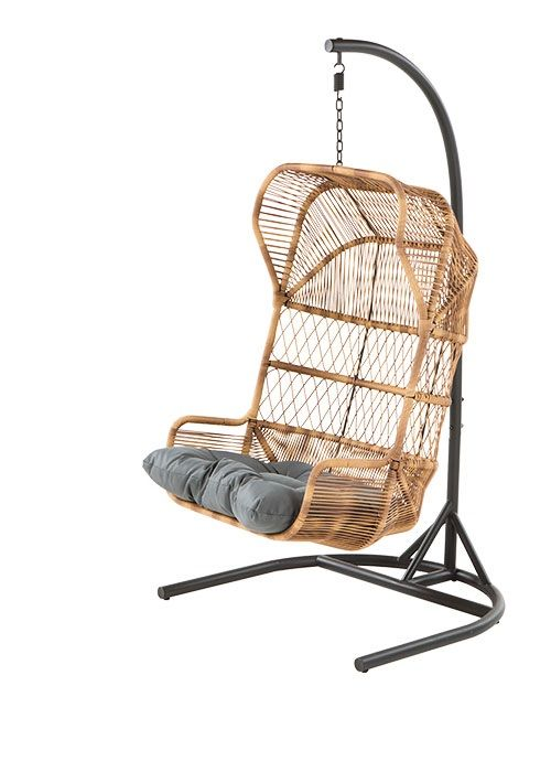 The Lyra Outdoor Hanging Chair, in Charcoal Grey. An ideal place to hang out. £449. MADE.COM