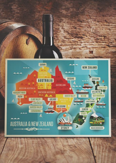 Majestic Wine Maps by Neil Stevens #map #wine #australia #newzealand