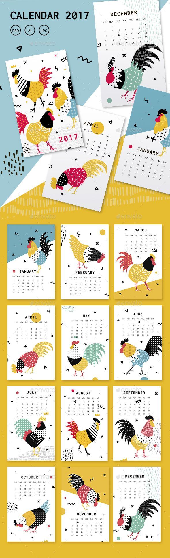 Calendar Template for the New Year 2017 with Roosters in the Memphis - PSD, JPG Image, AI Illustrator