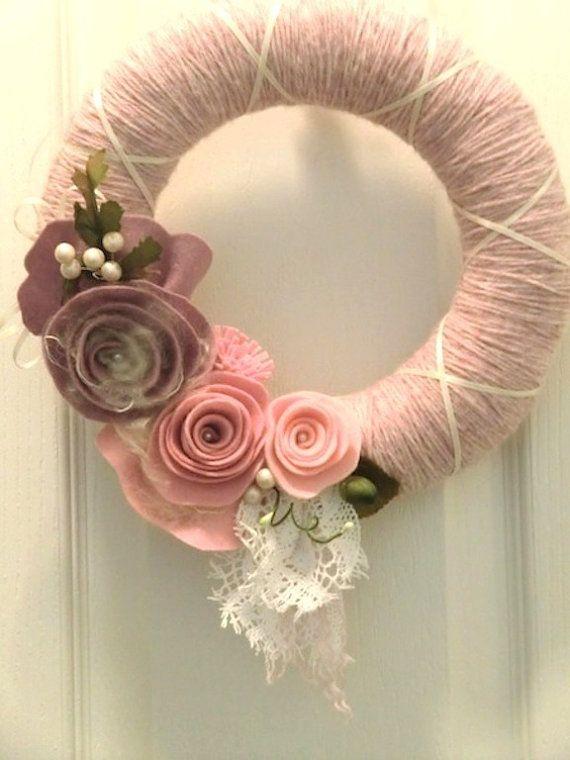 Pink & white yarn wreath