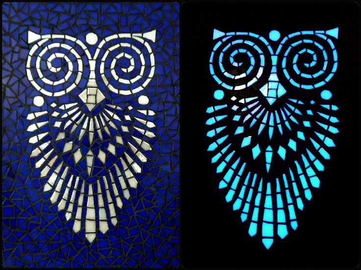 Glass mosaic wall art. (Left) Beautiful fluorescent art deco style owl on a royal blue background. (Right)The owl motif is lighting in the dark.