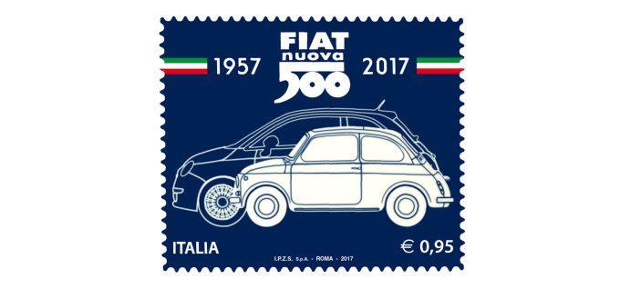 Il 60° anniversario della produzione della fiat nuova 500 Celebrato da un francobollo - La vignetta raffigura lo storico modello Fiat 500 in primo piano e, sullo sfondo, l'attuale vettura icona di casa Fiat. Alle estremità delle date sono riprodotte due bande tricolore  - http://www.ilcirotano.it/2017/07/05/il-60-anniversario-della-produzione-della-fiat-nuova-500-celebrato-da-un-francobollo/