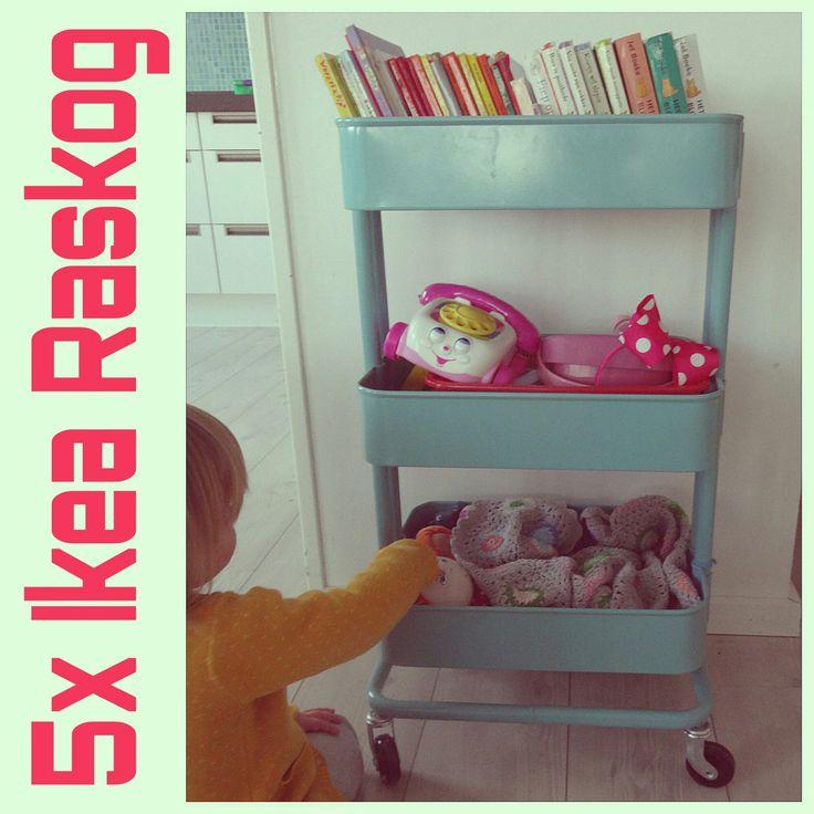 Wat je allemaal kunt doen met dat leuke rolkarretje van Ikea: vijf ideeën voor Ikea Raskog. Cart diy Ikea hack trolley. #ikeahacks #leukmetkids
