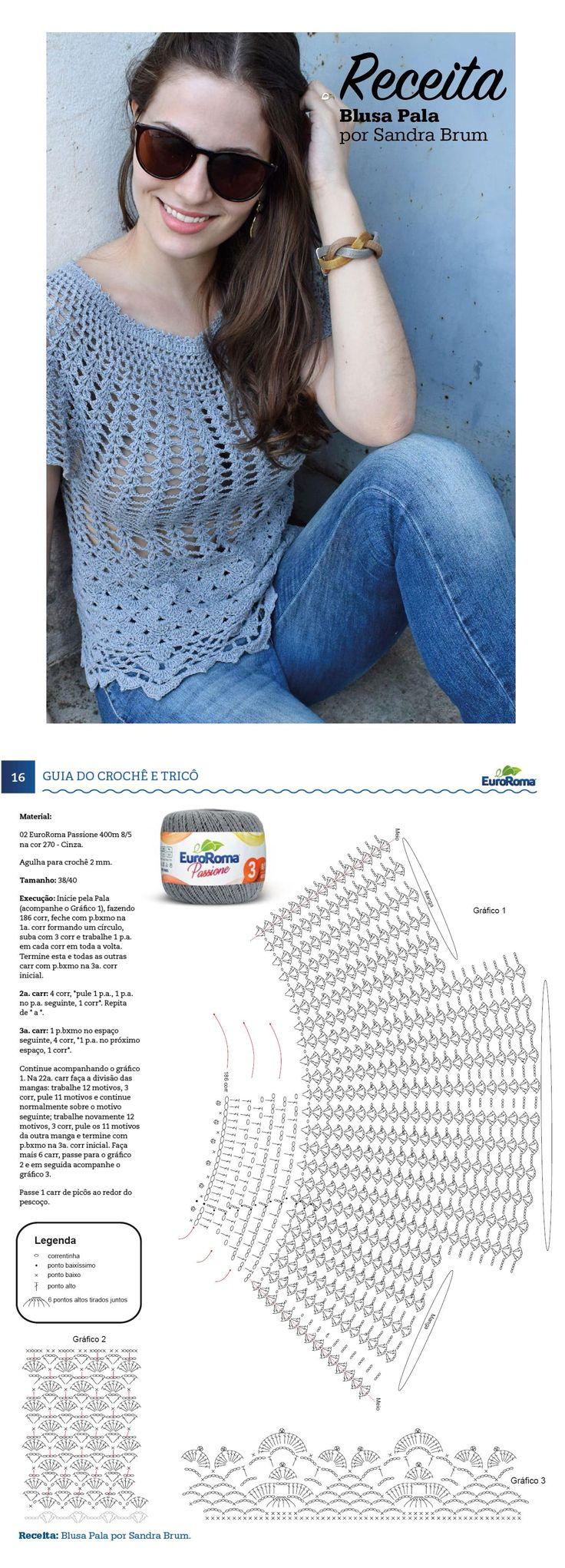Guia do do Crochê - Moda Especial. Blusa Pala por Sandra Brum, com EuroRoma Passione 400m 8/5, na cor 270 - Cinza.