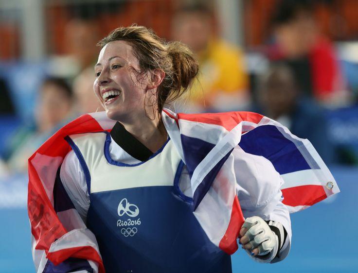 Jade Jones celebrates her gold in the women's -57kg final