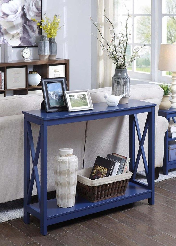 Oxford Console Table In Cobalt Blue Convenience Concepts 203099cbe Console Table White End Tables Grey Removable Wallpaper