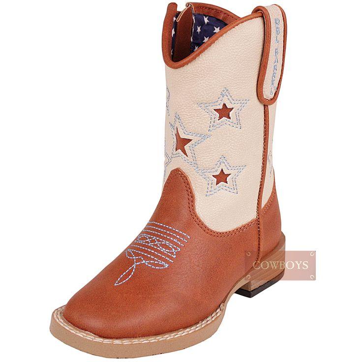 Bota infantil importada, nas cores marrom e bege, florão no peito do pé em azul e detalhes de estrelas no cano. Fechamento em ziper e cano estofado por dentro, solado em gel que proporciona conforto e antiderrapante que evita acidentes. Ideal para os pequenos cowboys e cowgirl que já gostam do estilo desde pequenos.