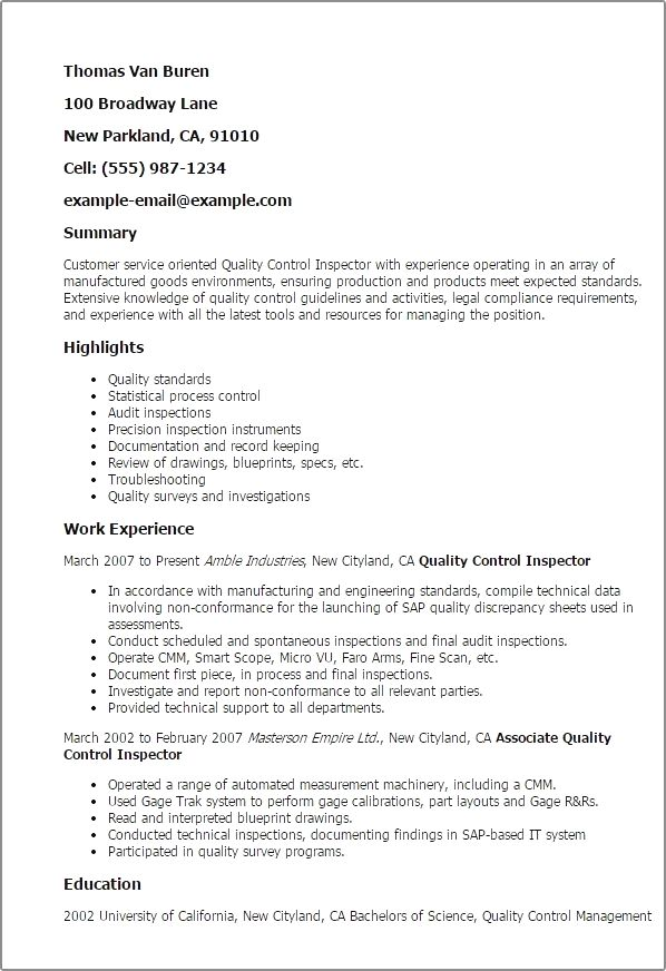 Quality Control Inspector Resume Inspections Safety Testing Quality Control Inspector Resume Template Best Design Resume Examples Sample Resume Resume