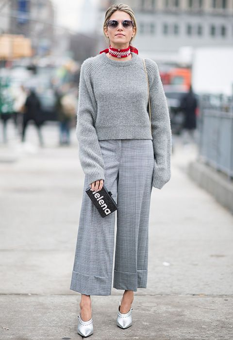 The easy answer to office tailoring? Gear up in one head-to-toe colour to give the illusion of a smart uniform (cunning). Choose dove-grey for a chicer alternative to black, and pair a cashmere jumper with matching cuffed wide-leg trousers. Amp up the fun with some look-at-me pointed mules and for your post-work bevs? A cutesy bandana and SS17-appropes logo clutch