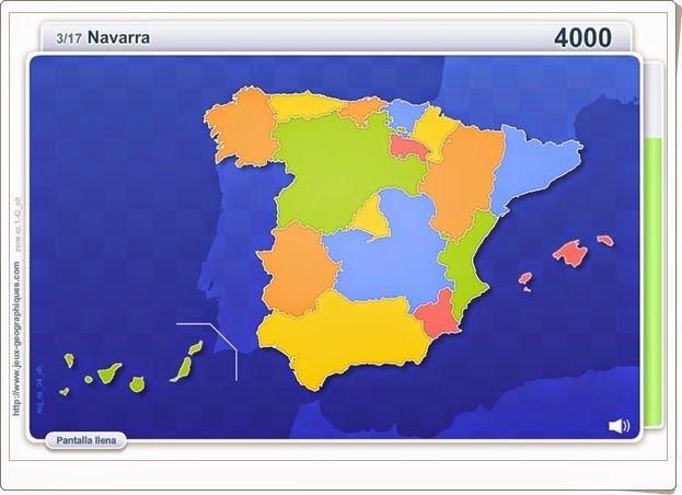 """""""Comunidades de España"""", de juegos-geograficos.com, juega a identificar en el mapa las Comunidades Autónomas Españolas que se indican en la parte superior."""
