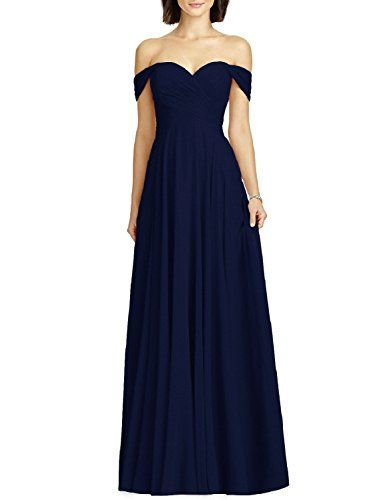 OYISHA Womens Off Shoulder Chiffon Bridesmaid Long Evening Dress Formal BD131 Navy Blue 10 $156.90