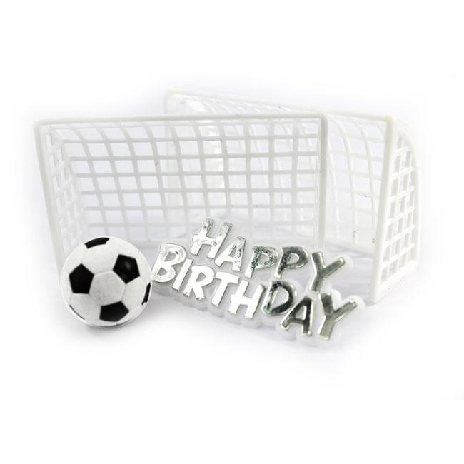 """Kuchendeko Fußballtor """"Happy Birthday"""" 4-tlg."""