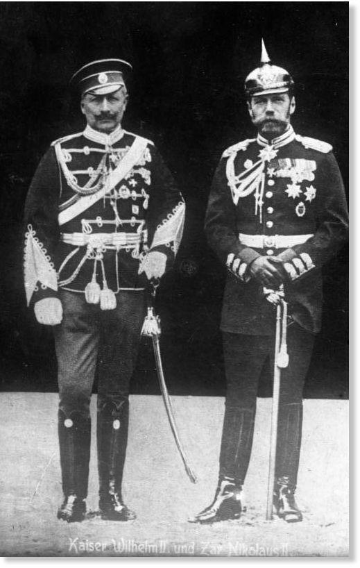 Кайзер Вильгельм II (слева) и царь Николай II - в военной униформе не своей страны
