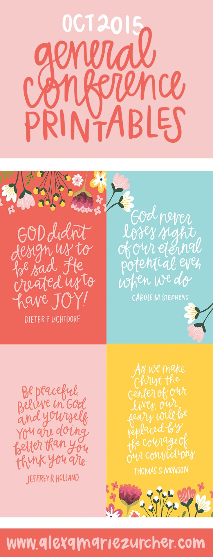 Free Hand Lettered General Conference Printables #ldsconf #womensmeeting