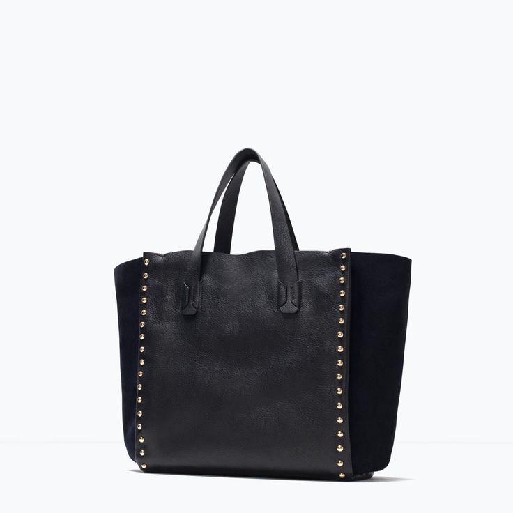 STUDDED LEATHER SHOPPER BAG from Zara