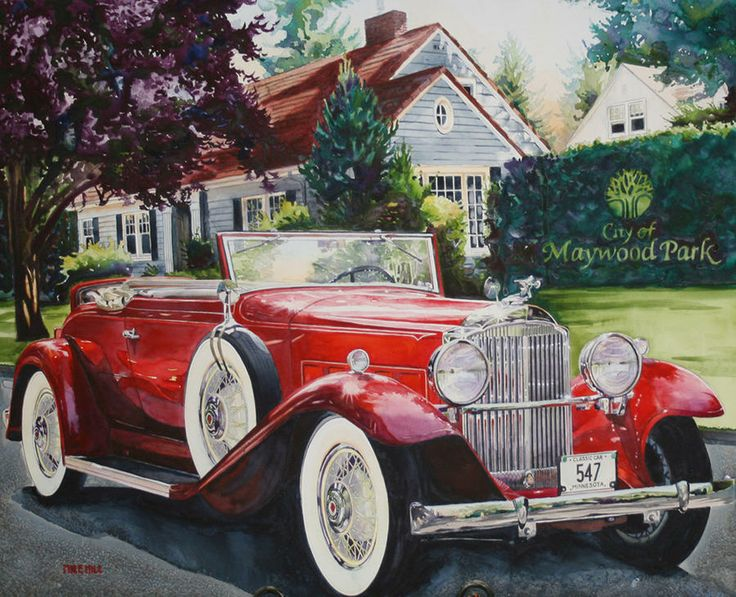 His and Hers Packard 1932 Painting by Mike Hill - His and Hers Packard 1932 Fine Art Prints and Posters for Sale