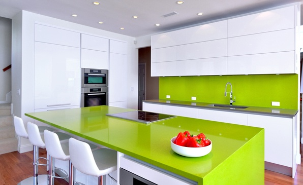 Modern Kitchen Green pedini modern kitchen with high gloss white lacquer, green quartz