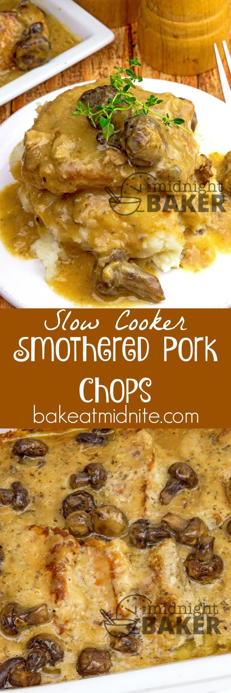 Pork chops smothered in an awesome gravy. Easy to make in the slow cooker.