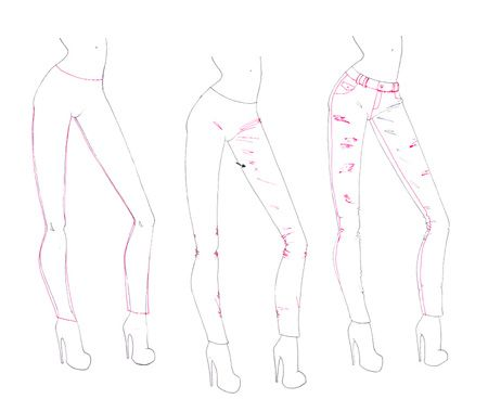 How to draw folds and creases on clothes - pants - for fashion design sketches and illustrations