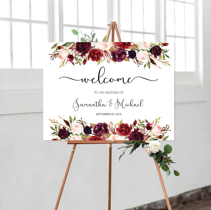 Welcome Wedding Sign, Boho, Floral, Printable, Welcome To Our Wedding, Watercolor, Marsala, Burgundy, Maroon, Printable by vocatio on Etsy https://www.etsy.com/ca/listing/574045336/welcome-wedding-sign-boho-floral