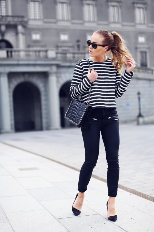 Stripes + Black Pumps - Angelica Blick