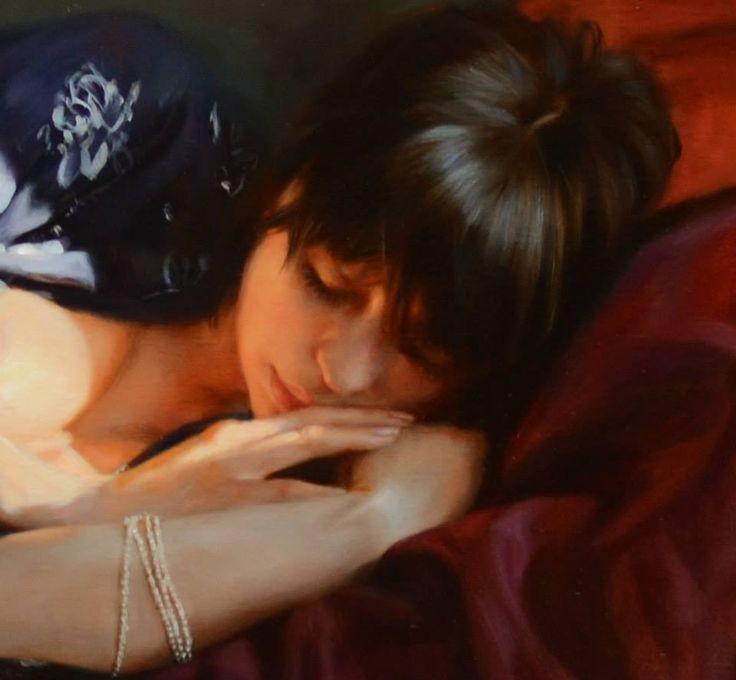 by Artist Anna Marinova - detail -Ray of Sunlight. oil on canvas. 50x110 cm. 2013